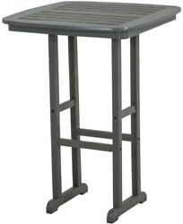 Patio Square Bar Table Gray Polywood Plastic 31 In. Waterproof Outdoor Furniture