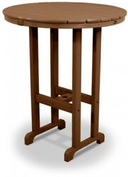 Patio Round Bar Table Brown Polywood Plastic 36 In. Waterproof Outdoor Furniture