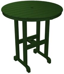 Patio Round Counter High Table Green Polywood Plastic 36 In. Outdoor Furniture