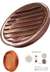 4-Inch Round Louvered Copper Insert Vent with Screen for Soffit and Wall Venting