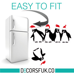 Christmas Penguins Fridge Stickers A4 on clear vinyl Kitchen Funny Sticker $5.99