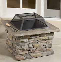 Rock Fire Pit Bowl w Cover Square Fireplace Wood Burning Faux Stone Outdoor New