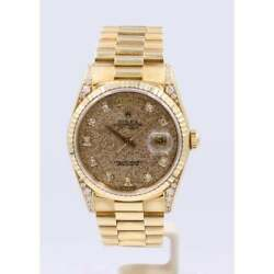 Pre-Owned Rolex Men's 18ct Yellow Gold Day-Date Fossil Dial Diamond Lugs.