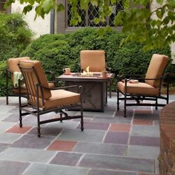 Durable Patio Seating Set Gas Fire Pit Lounge Chair Cashew Cushions 5 Piece