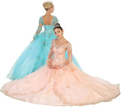 CINDERELLA BELL SLEEVES FORMAL GOWN SWEET 16 QUINCEANERA BALL DRESSES QUINCE