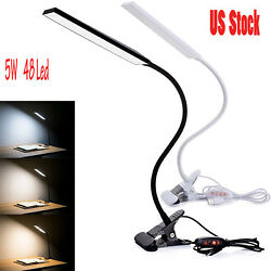 5W Dimmable Clip On LED Desk Lamp Flexible Reading Light Black Friday $13.59