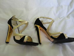JIMMY CHOO GOLD LEATHER  SUEDE SANDAL NWB SIZE 37 OR 7!!