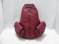 Chanel Chain Backpack Lambskin Leather Bordeaux Red Antique Silver Rare