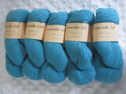 Lot 5  Skeins Cascade 220 WOOL YARN Turquoise Blue Partie 220 Yards  Skein