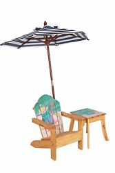 Winland - Outdoor Table and Adirondack Chair Set with Unbrella - Beach Summer