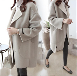 Women Winter Warm Cashmere Long Coat Cardigan Parka Outwear Jacket Greatcoat