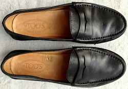"""TOD'S Marlin Hyannisport"" moccasins in black leather TOD'S size 7 =8US Italy $79.99"