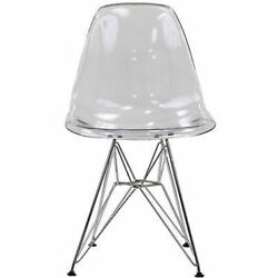 Midcentury Modern Style Molded Plastic Shell Side Chair in Clear