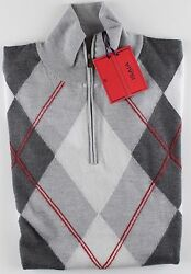 NWT ISAIA 100% pure cashmere SWEATER rhombus lupetto grey red 12 zip luxury M