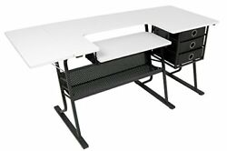 Studio Designs Eclipse Hobby Sewing Center Wide Table Three Drawers Black White