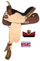 "Big Horn Barrel Saddle Leather Tooling Full Quarter Horse Bars 14"" A01534 ~ NEW"