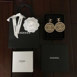 Chanel CC Logo Drop Large Round Chain Button Gold Earrings