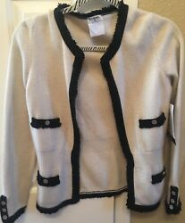 Chanel 100% Cashmere Classic Sweater Ivory & Black Med