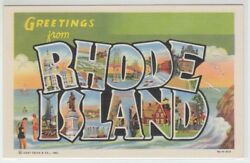 66376 OLD LARGE LETTER POSTCARD GREETINGS from RHODE ISLAND $16.00