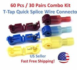 60pc T-Taps Splice Wire Connector Insulated Spade Kit Electrical Crimp Terminals $7.68