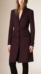 NWT BURBERRY LONDON $1795 WOMENS WOOL CASHMERE COAT JACKET SZ US 12 EU 46