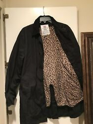 Supreme Leopard Lined Trench Coat FW11 Size L Black *msg4ofr*