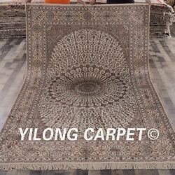 Yilong 6'x9' Original Hand Knotted Area Rug Vintage Handmade Silk Carpets L47A