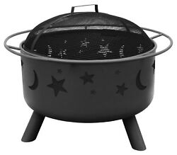 Outdoor Fire Pit Wood Burning Stars Moons with Cooking Grate Spark Screen Poker