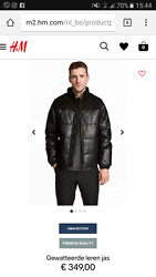 H&M Man EDITION LEATHER WATERPROOF PADDED BLACK JACKET SIZE L ONLINE SOLD OUT