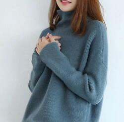 Women 100% Cashmere High-Necked Sweater Long Sleeve Loose Coat Tops SMLXL