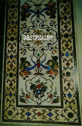 5'x3' White Marble Dining Table Inlay Semi Stone Marquetry Patio Art Decor H3125