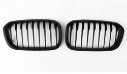 PH~ 2Pcs For BMW 1 Series F20 15-16 Single Slat Front Grille Matte Black ABS