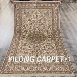 YILONG 5'x8' Beige Handmade Silk Persian Carpets Indoor Hand-knotted Rugs 062M