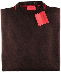 NWT ISAIA wool cashmere SWEATER crewneck brown moulinè 4 ply luxury Italy M