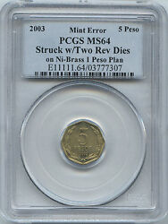 ON SALE UNIQUE 2003 Chile 5 Peso w2 Rev Dies On Ni-Brass 1 Peso Plan PCGS MS 64