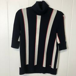 CHANEL 100% Cashmere Turtle Neck Striped Sweater SZ 40 42 34 Sleeve New $2050