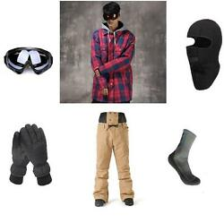 Ski Snowboard Red Jacket+Pants+Gloves+Goggles+Balacalava+Socks S M L XL XXL