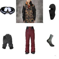 Winter Ski Snowboard Jacket+Pants+Gloves+Goggles+Balacalava+Socks S M L XL XXL