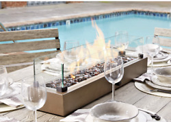 Tabletop Fireplace Hatchlands Propane Outdoor Fire Bowl Sleek Rectangle Design