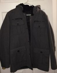 Guess Mens Wool Hood Winter Coat Large Lightly Used