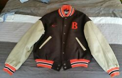 90's Nike Cleveland Browns Letterman's Jacket Leather sleeves wool upper used M