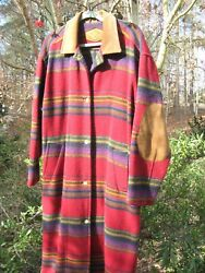Native American Style Coat Long 100% Wool Woolrich Brand Slightly Used XL