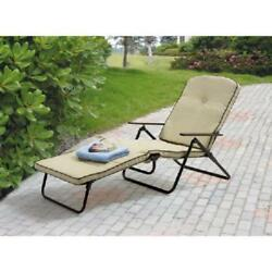 Patio Chaise Lounge Chair Garden Outdoor Yard Lawn Padded Folding Beach Pool Bed