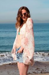 Boho Pink Creme Paisley Kimono Cocoon Blouse Beach Cover up coverup summer Top $20.00