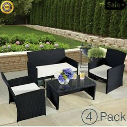 Outdoor Patio Furniture Set With Cushion Glass Table For Garden Yard Clearance