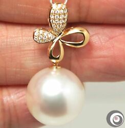 Solid 18K Gold Diamond Pendant w Giant 15.5mm AAA White South Sea Pearl #P4246