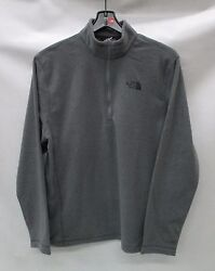 North Face Mens TKA Glacier 14 Zip Pullover C744 TNF Med Grey Heather Sz Large