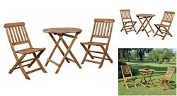 Bistro Outdoor Set 3 Pc Wood Patio Furniture Garden Porch Folding Chairs Table