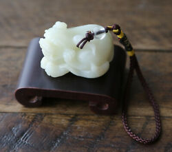 Chinese Carved White Jade Small Dragon Pendant Carving