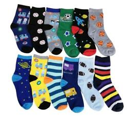 Different Touch 12 Pairs lots Kids Boys Novelty Design Crew Socks $11.99